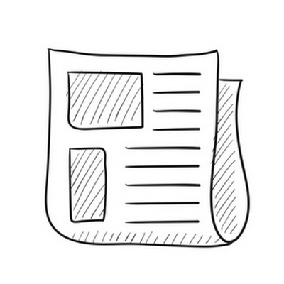 Newspaper vector sketch icon isolated on background. Hand drawn