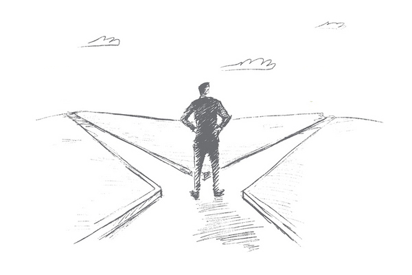Vector hand drawn work or home choosing concept sketch. Man standing at crossroads and doubting whether to go home or work. Lettering Work Home