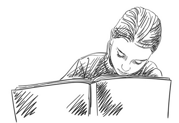 Sketch of schoolgirl doing homework  Hand drawn vector illustrat