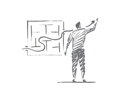 Vector hand drawn business concept sketch. Businessman standing backwards and drawing indicator of sustainable development through business maze. Lettering Business concept